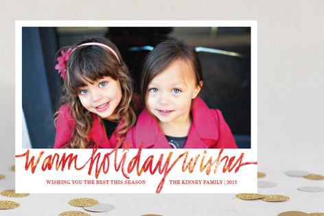 Watercolor Wishes Holiday Photo Cards