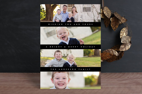 Modern Stripes Holiday Photo Cards