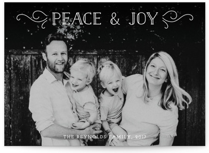 Peace And Joy Flourish Holiday Photo Cards