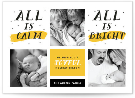 Modern Calm and Bright Holiday Photo Cards