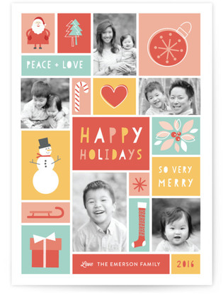 Happy Holidays Grid Holiday Photo Cards