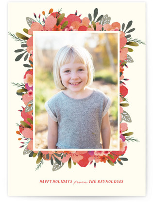 Watercolor Frame Holiday Photo Cards