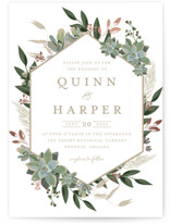 Succulent Surround Foil-Pressed Wedding Invitation Petite Cards