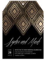 Gilded Ikat Foil-Pressed Wedding Invitations