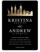 New York Skyline Foil-Pressed Wedding Invitations