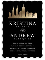 New York Skyline Foil-Pressed Wedding Invitations
