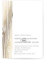Shimmering Faux Bois Foil-Pressed Wedding Invitations