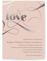 Swirling Romance Foil-Pressed Wedding Invitations
