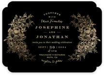 Engraved Flowers Foil-Pressed Wedding Invitations