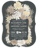 Dahlia Bouquet Foil-Pressed Wedding Invitations
