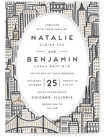 City Foil-Pressed Wedding Invitations