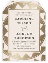 Deco Chevron Foil-Pressed Wedding Invitations