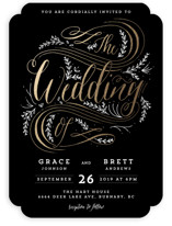 Classic Garden Flourish Foil-Pressed Wedding Invitations