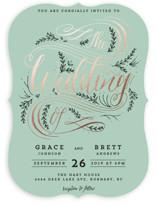 Classic Garden Flourish Foil-Pressed Wedding Invitations