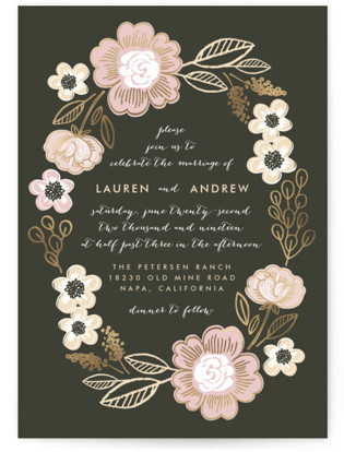 Botanical Wreath Foil-Pressed Wedding Invitations