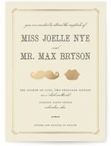 Stache + Kiss Foil-Pressed Wedding Invitations