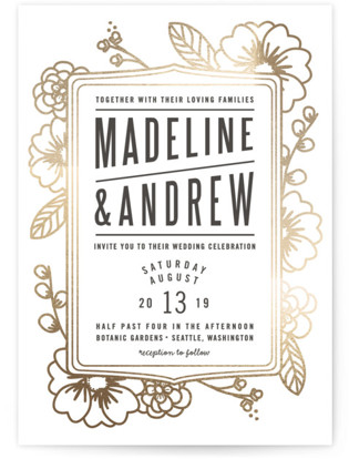 Modern Botanicals Foil-Pressed Wedding Invitations