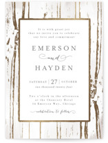 Gilded Woodgrain Foil-Pressed Wedding Invitations