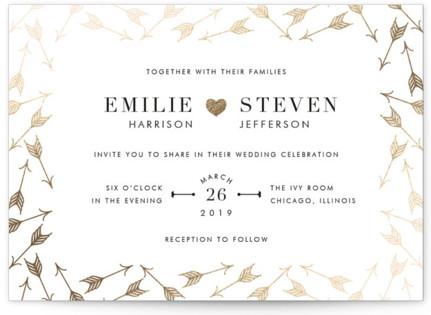 Arrow Frame Foil-Pressed Wedding Invitations
