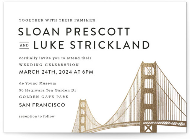 Golden Gate Bridge Foil-Pressed Wedding Invitations