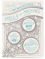Antique Lines Foil-Pressed Wedding Invitations