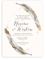 Dipped Feathers Foil-Pressed Wedding Invitations