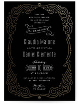 Art Deco Filigree Foil-Pressed Wedding Invitations