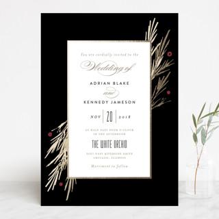 Winter Berry Foil-Pressed Wedding Invitations
