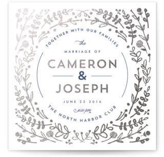 Floral Frame Foil-Pressed Wedding Invitations