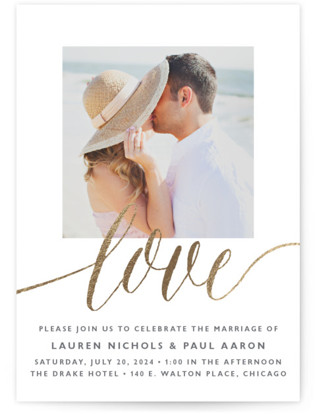 A Sparkly Love Foil-Pressed Wedding Invitations