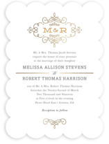Ornate Monogram Foil-Pressed Wedding Invitations