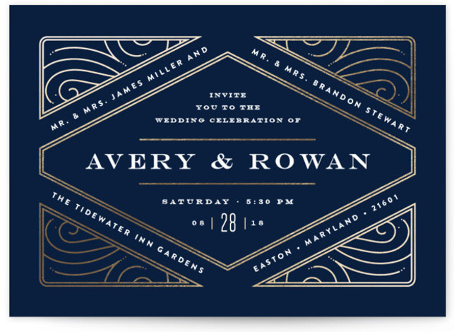 Diamondback Foil-Pressed Wedding Invitations