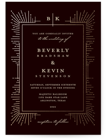 Geometric Sparks Foil-Pressed Wedding Invitations