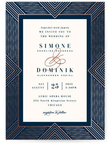 Beaded Edge Foil-Pressed Wedding Invitations