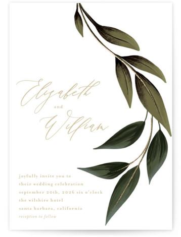 Cascading Vine Foil-Pressed Wedding Invitations