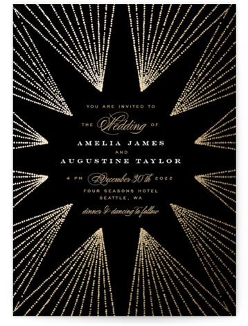 Starburst Foil-Pressed Wedding Invitations