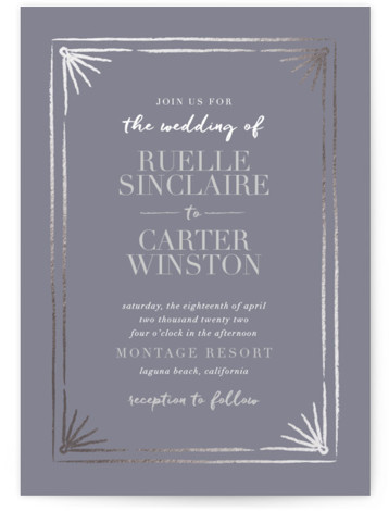 Beaming Foil-Pressed Wedding Invitations