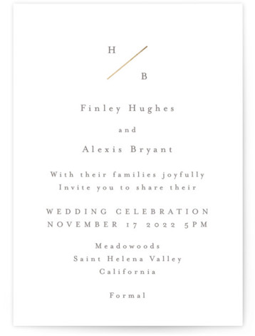 Dashed Monogram Foil-Pressed Wedding Invitations