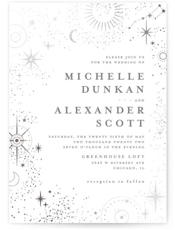 look at the stars Foil-Pressed Wedding Invitations