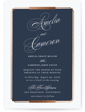Formal Chic Foil-Pressed Wedding Invitations