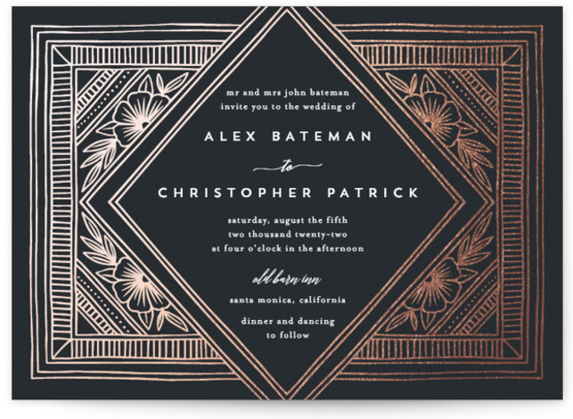 Intricate Diamond Foil-Pressed Wedding Invitations