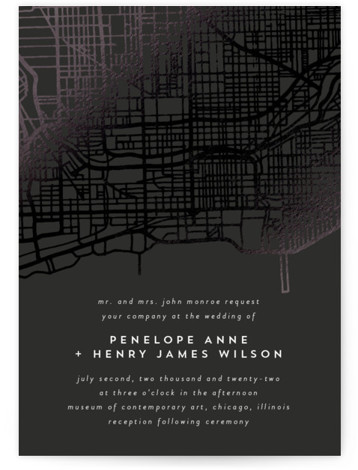 Chicago Foil-Pressed Wedding Invitations