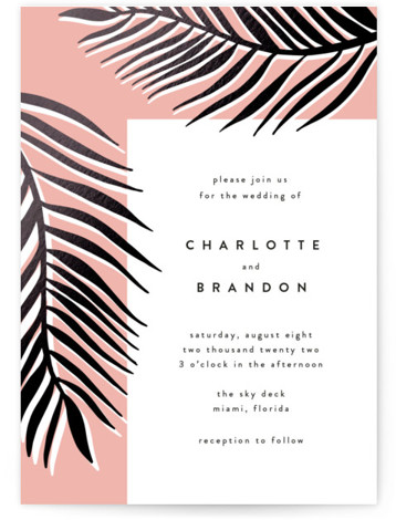 Palm Vibes Foil-Pressed Wedding Invitations