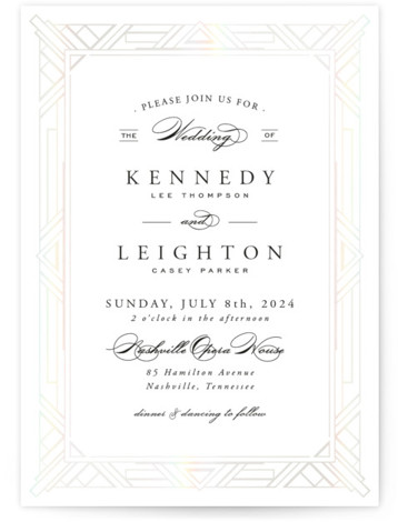 Opulent Border Gloss Press Wedding Invitations