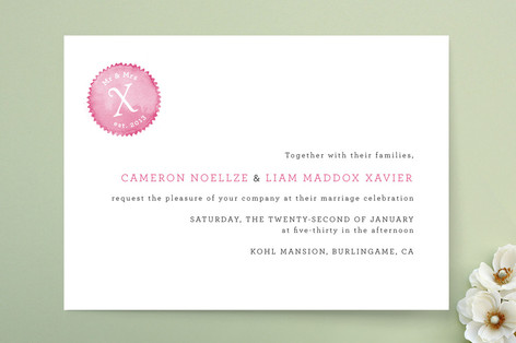 Mr and Mrs X Wedding Invitations