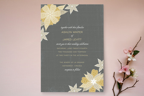 Charcoal and Floral Wedding Invitations