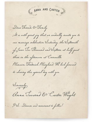 Vintage Letter Wedding Invitations