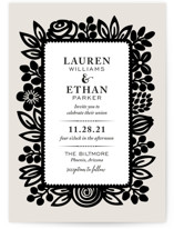 Modern Floral Frame Wedding Invitations