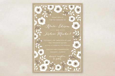 Kraft Florals Wedding Invitations