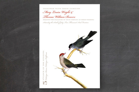Vintage Bird Print Wedding Invitations